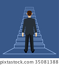 Businessman standing on ladder or stair 35081388