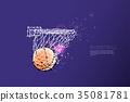 line and dot of basketball shooting. 35081781