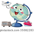 Globe Mascot Air Land Water Travel Illustration 35082283