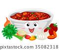 Salsa Mascot Ingredients Illustration 35082318