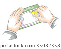Hands Business Man Scratch Card Illustration 35082358