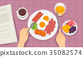 Hands Eating Breakfast Illustration 35082574