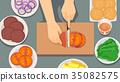 Hands Making Burgers Illustration 35082575