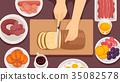 Hands Preparing Breakfast Illustration 35082578