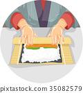 手 壽司 卷 35082579