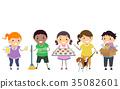 Stickman Kids Earn Money Summer Illustration 35082601