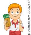 Kid Boy Money Think Illustration 35082627