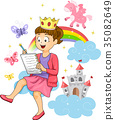 Kid Girl Fairy Tale Story Writing Illustration 35082649