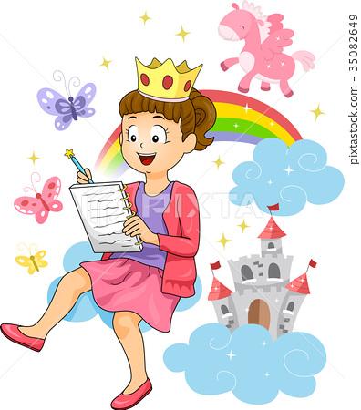 Kid Girl Fairy Tale Story Writing Illustration 35082649