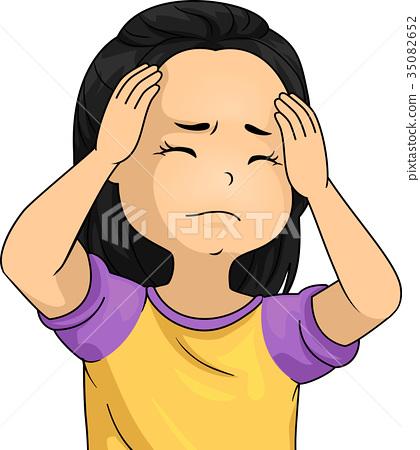 Kid Girl Headache Illustration 35082652