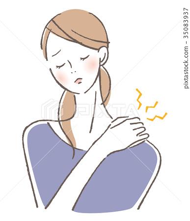 女性肩膀僵硬 35083937
