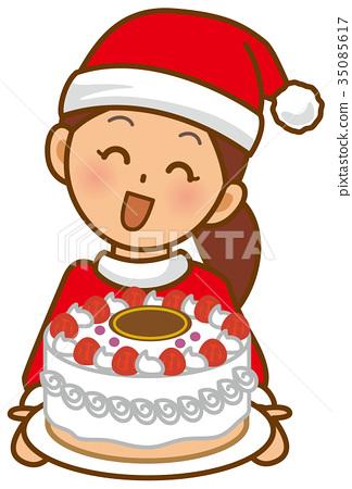 聖誕老人婦女聖誕節蛋糕 35085617