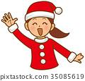 聖誕老人女人揮手 35085619