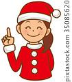 指向手指的聖誕老人婦女 35085620
