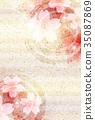 樱花新年的卡片日本纸背景 35087869