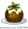 Christmas Plum Pudding Cartoon 35087898