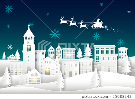 Santa on night sky in city town Winter background 35088242
