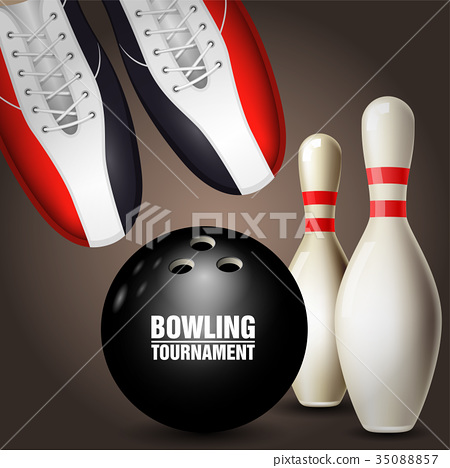 Bowling shoes, skittles and ball - bowling poster 35088857