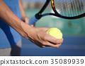 테니스를하는 남성의 손 35089939