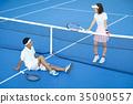 男人和女人在網球場 35090557
