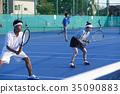 男子和女子打網球雙打 35090883