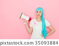 bullhorn, female, megaphone 35093884