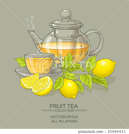 cup of lemon tea and teapot 35094411