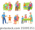 Grandparents, grandchildren spending time together 35095351