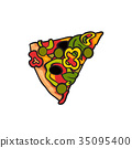 pizza, slice, vector 35095400