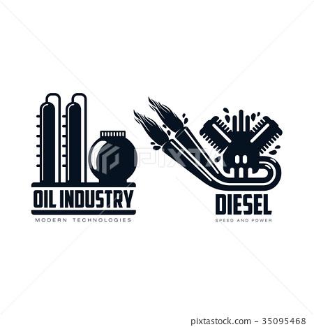 Vector Flat Icon Gasoline Engine Oil Refinery Set Stock