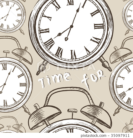 Clock tile pattern. Watch dial engraved background 35097911