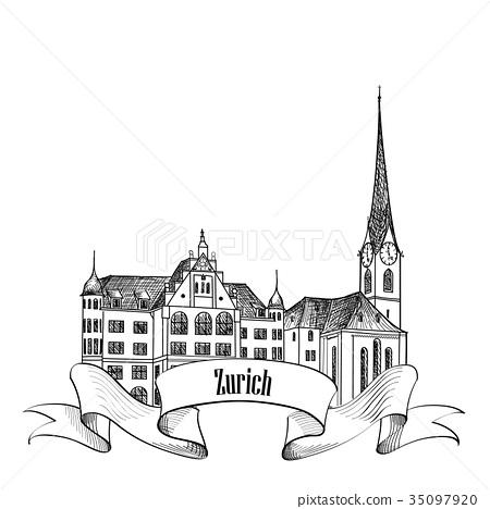Zurich city, Switzerland. Travel landmark view 35097920