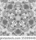 Black and white watercolor mandala. Oriental 35099446