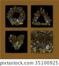 Floral card design, flowers and leaf doodle 35100925