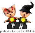 Funny devil and witch. Halloween and Dead day 35101414