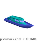 Polygonal motor boat. Isolated on white background 35101604