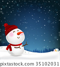 Snowman cartoon smile and blank copy space falling 35102031