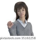 포즈 긴 머리 여고생 perming 3DCG 일러스트 소재 35102258