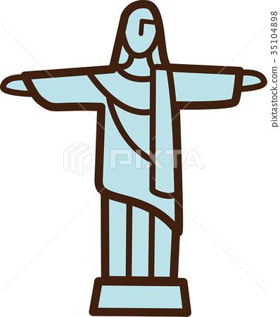 세계 일러스트지도 그리스도 구속자 35104898