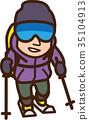世界插圖地圖滑雪登山 35104913