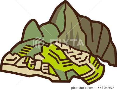 World Illustration Map Machu Picchu 35104937