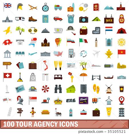 100 tour agency icons set, flat style 35105521