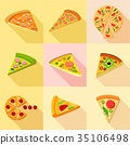 pizza, icons, flat 35106498