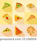 pizza, icons, flat 35106604