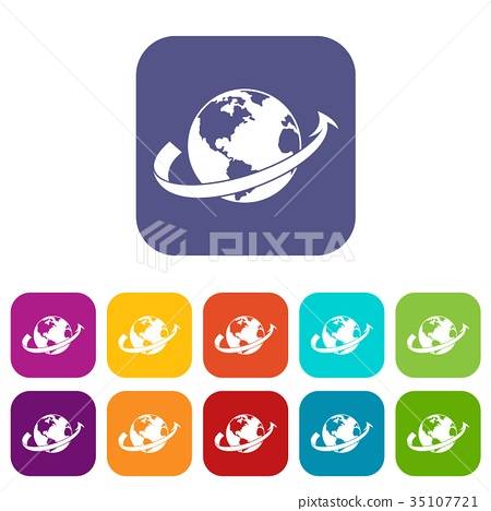 Airplane fly around the planet icons set 35107721