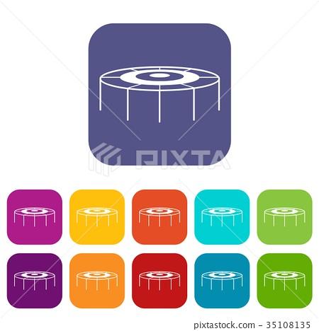 Trampoline icons set 35108135