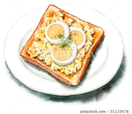 토스트, 구운 빵, 조리 빵 35110078