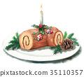 เค้กวันคริสต์มาส,ลูกกวาด,เทียน 35110357
