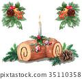 水彩畫畫聖誕蛋糕/ Bushdonel 35110358