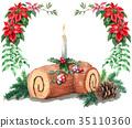 เค้กวันคริสต์มาส,ลูกกวาด,เทียน 35110360
